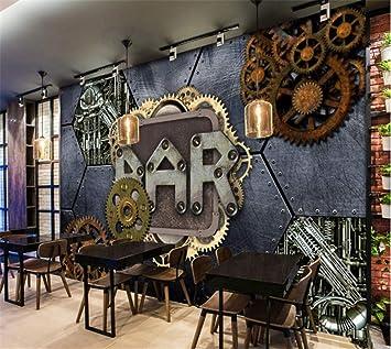 Wemall Papier Peint Murale 3d Rétro Vintage Style Industriel Barre