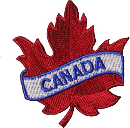 2.5 X 2.5 Inch .. CANADA Red Maple Leaf Embroidered Iron on Patch Crest Badge ...Size New