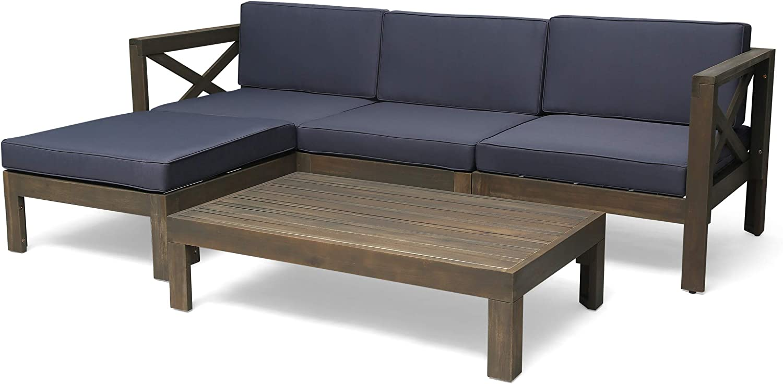 Christopher Knight Home 308262 Mamie Outdoor Acacia Wood 5 Piece Sofa Set, Gray Finish, Dark Gray