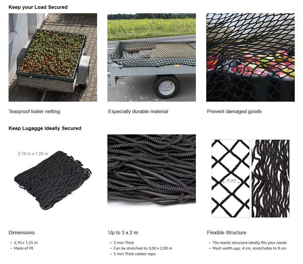 Gancho para Cable 6 Piezas Red de Carga OR Key O Fundas para Llaves 125 x 210 cm se estira hasta 200 x 300 cm