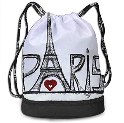 HUOPR5Q Paris Eiffel Tower Drawstring Backpack Sport Gym Sack Shoulder Bulk Bag Dance Bag for School Travel