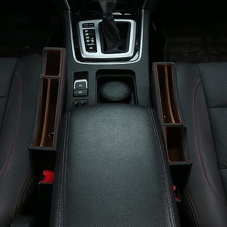 High Class PU Leather Car Seat Gap FillerCar Catcher Organizer 2 Pack