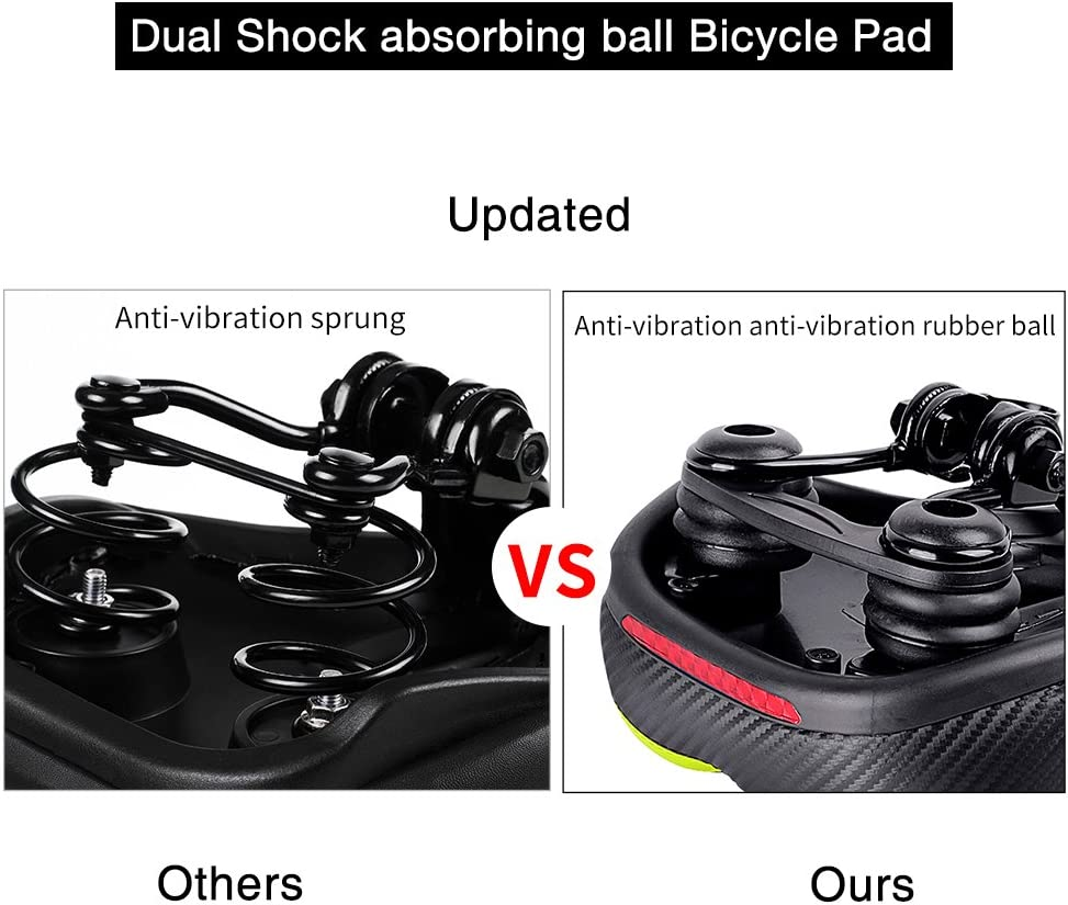 Green//Black with Reflective Sticker Bike Seat Replacement with Dual Shock Absorbing Ball Wide Bike Seat Memory Foam Bicycle Gel Seat with Mounting Wrench TONBUX Most Comfortable Bicycle Seat