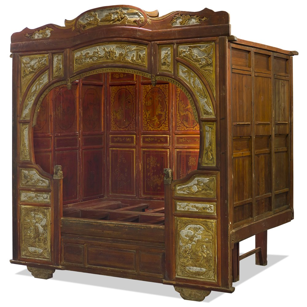 This luxurious Chinese day bed is about a hundred years old