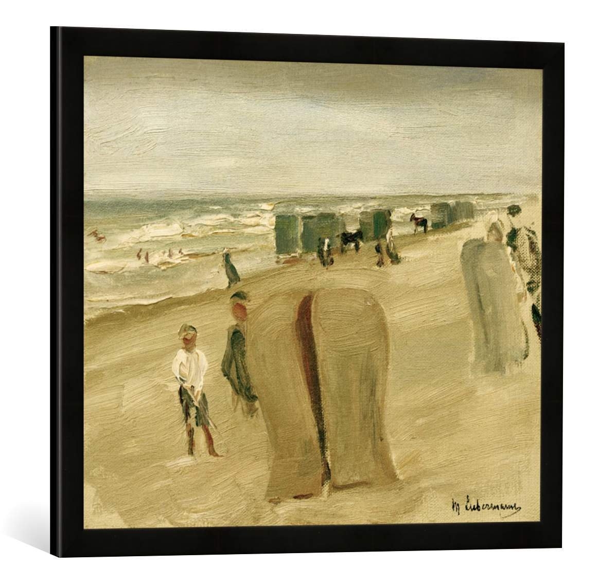 Amazon.de: Gerahmtes Bild von Max Liebermann Strand mit Strandkörben ...