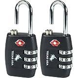 Texas USA - TSA Lock - Pack of 2 Black Locks - Mandatory for US Customs ( ONLY ORIGINAL BRANDED LOCK ONLINE ! )