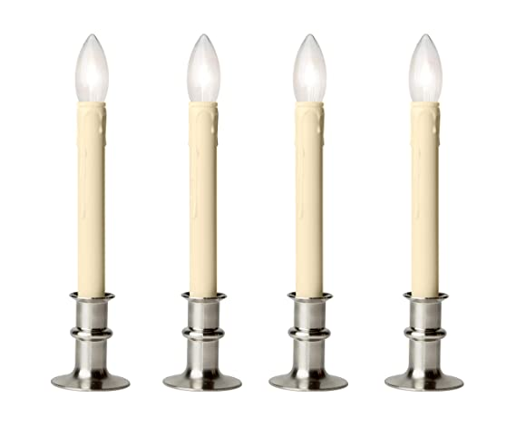 online store 36918 b5de8 Celestial Lights Set of Four Adjustable Height Battery Operated LED Window  Candles with Daily Timer Ivory Candle Stick. (Brushed Nickel)