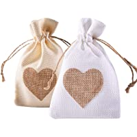 YUKUNTANG Burlap Bags, 20 Packs 5 x 7 Inch Heart Drawstring Pouch Candy Gift Linen Pockets for Wedding Party Birthday…