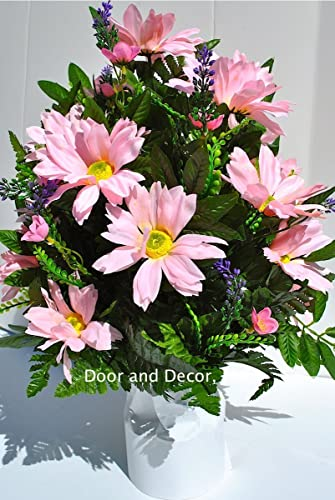 Cemetery Spring FlowersPink DaisesBirthdayBaby Flowerssaddle Arrangementflowers For Gravesgrave Decorationsheadstone Saddlepink