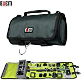 BUBM Large Canvas Travel Roll Bag Camera Rollup Protective Case for GoPro Hero4/3+/3 sj4000, Camera Accessories Rollup Shoulder Bag for GoPro Cameras and Accessories (Dark Green)