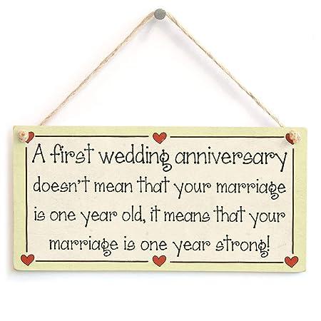 Mr.sign A First Wedding Anniversary Cartel de Pared Madera ...