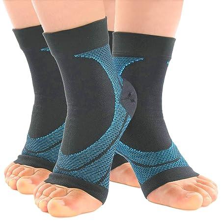 [SUCFORTS]左右2組セット 足底筋膜炎 靴下 高着圧 アンクルスリーブ アーチサポーター 扁平足足裏の痛み 疲れを軽減 土踏まず 足首 アーチ サポーター スポーツ (M)