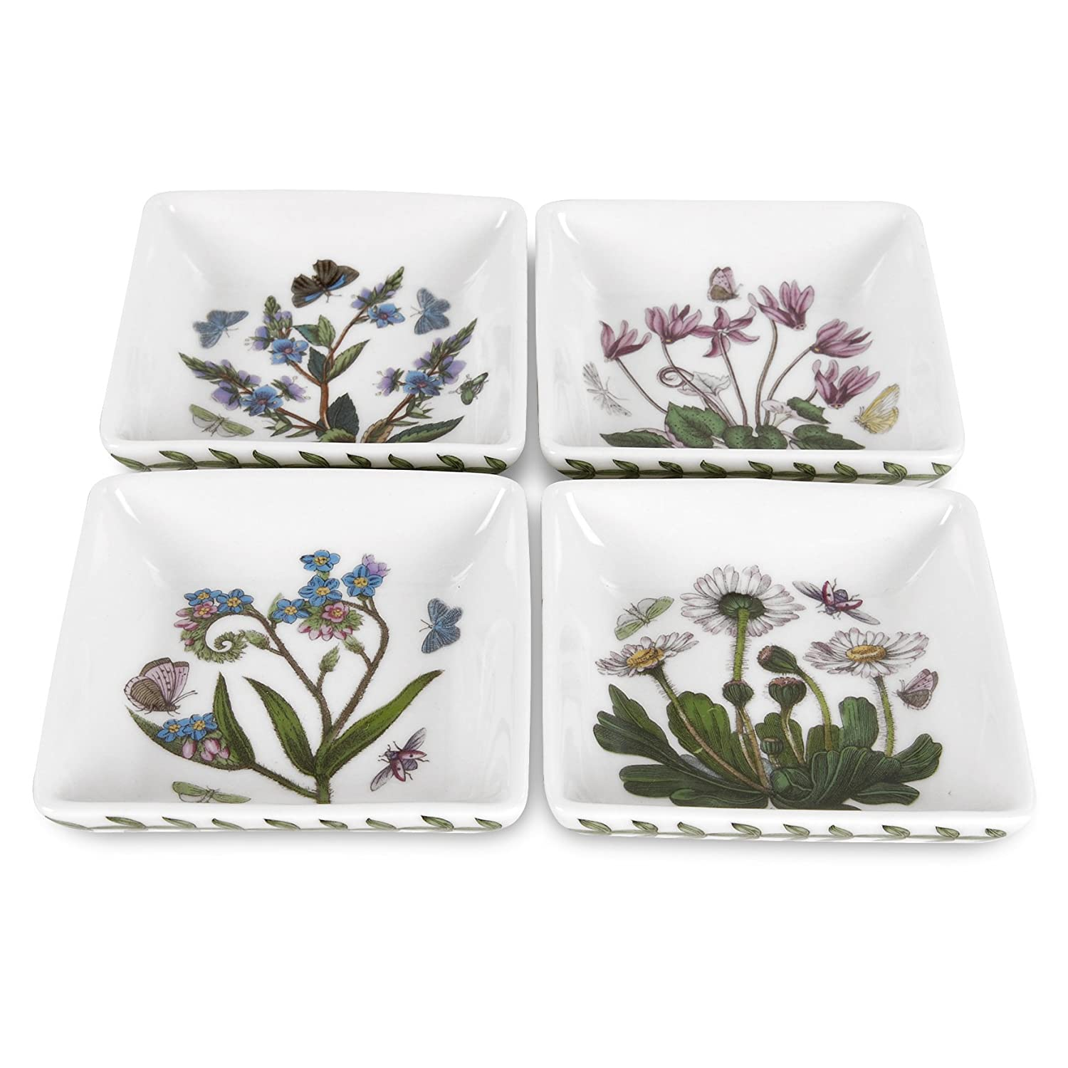 Portmeirion Botanic Garden 3-Inch Square Mini Dishes, Set of 4 605207