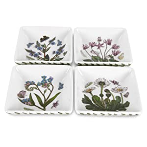 Portmeirion Botanic Garden 3-Inch Square Mini Dishes, Set of 4