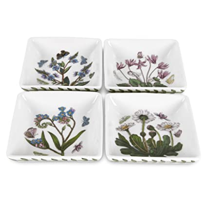 Portmeirion Botanic Garden 3 Inch Square Mini Dishes, Set Of 4