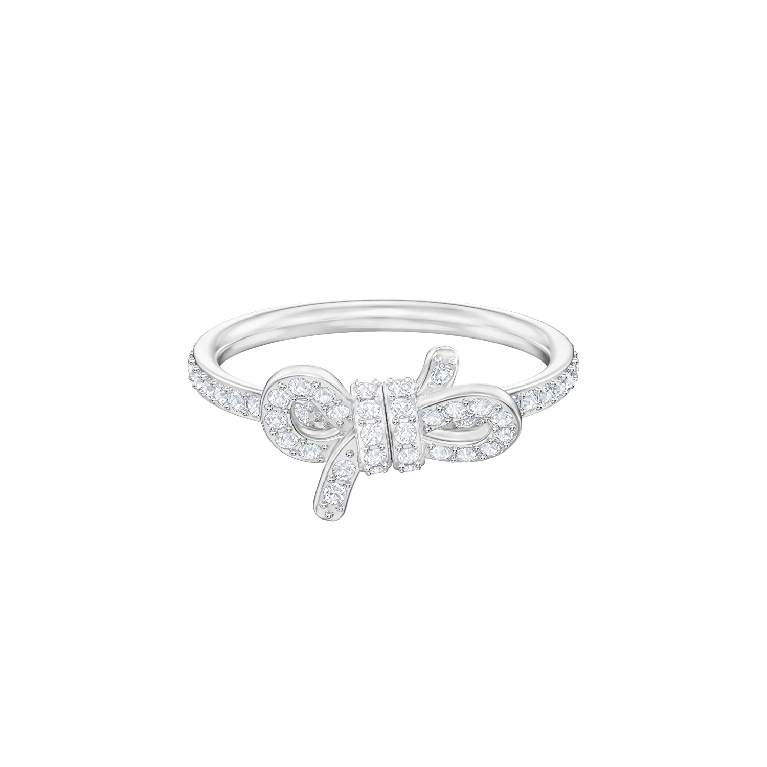 83c3511a3 Swarovski Lifelong Small Bow Ring, White, Rhodium Plating: Amazon.co.uk:  Jewellery