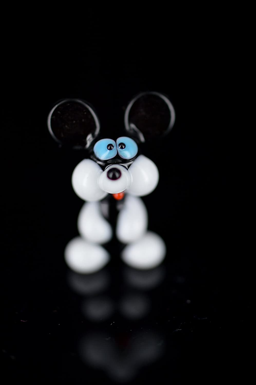 Petite Figurine de Verre Souris Noir Blanc Mini Miniature Animal D/écor Vitrine