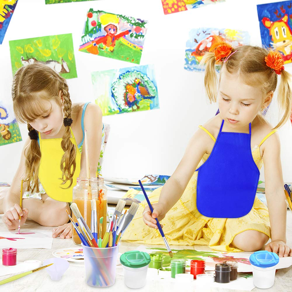Paint Brushes Palettes and Aprons for Children Doodle Sharing Paints Pllieay 22 Pieces No Spill Paint Cups Set with Assorted Color Lids