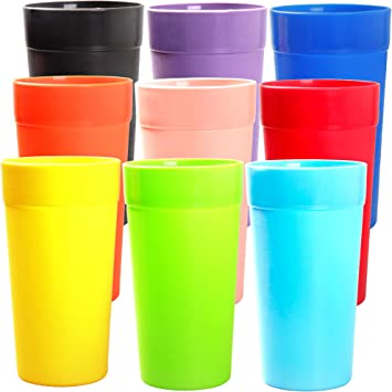 Youngever 18 Pack Unbreakable Plastic Tumblers 20 Ounce Unbreakable Plastic Drinking Glasses Plastic Cups Set Of 18 In 9 Colors Kitchen Dining