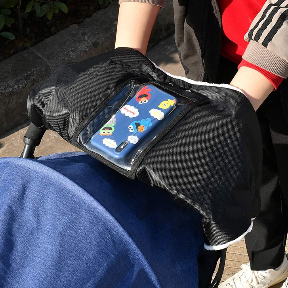 Winter Warm Stroller Gloves Thicken Fleece Gloves with Phone Pocket Black CNNIK Baby Pushchair Hand Muff