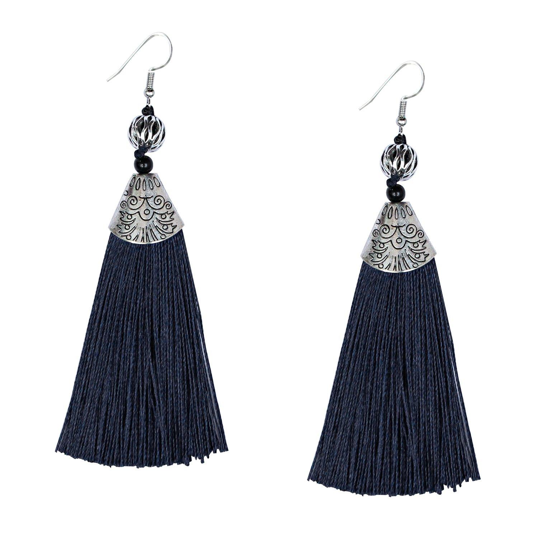 Navy Blue Tassel Earrings Ethnic Handmade Tassel Earrings Boho Tassel Earrings for Women Girls Statement Jewelry