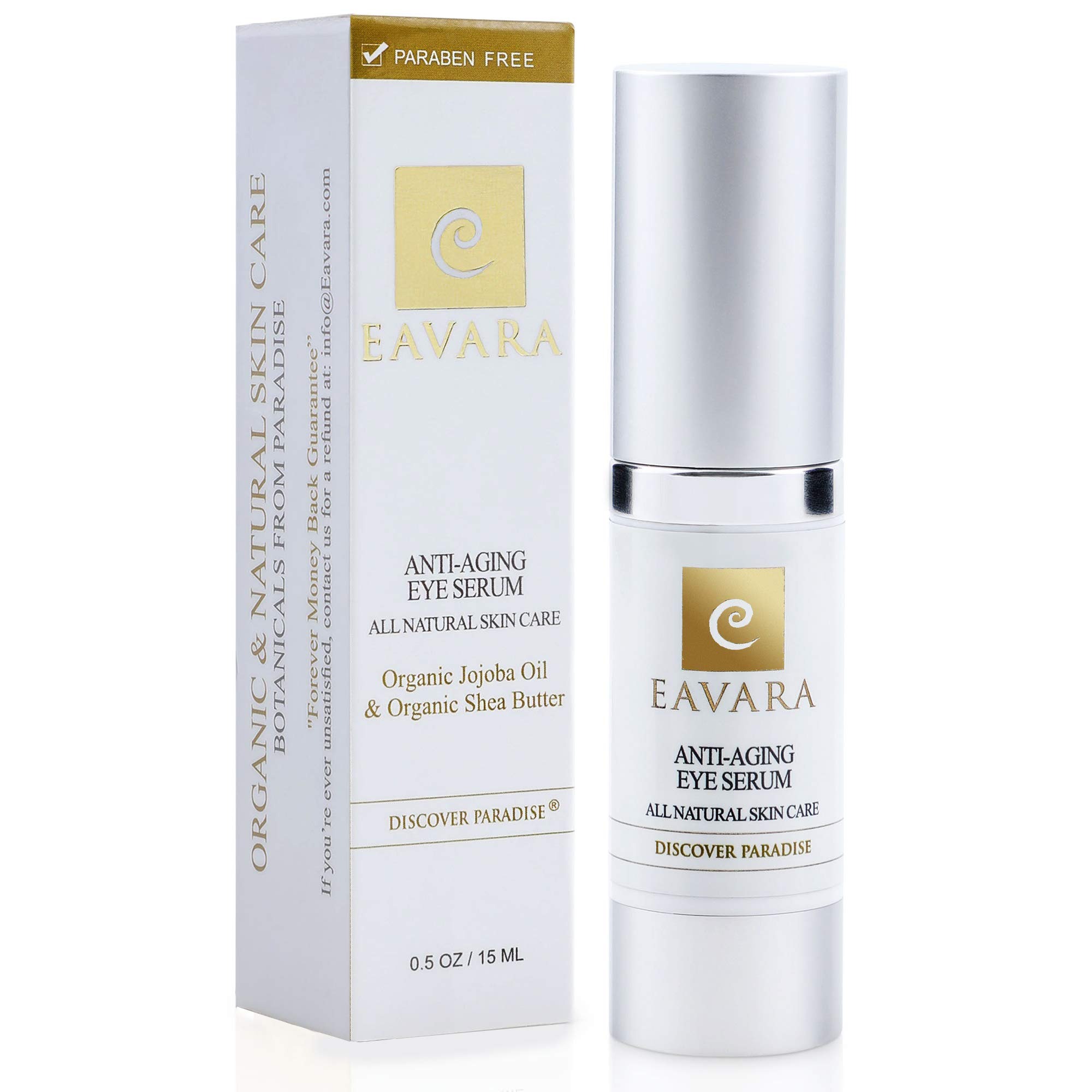 Organic Anti Aging Eye Cream - Award Winning Eye Serum for Dark Circles and Puffiness, Bags, Wrinkles and Fine Lines - Natural Skin Care with Jojoba Oil, Shea Butter, Vitamin E, Hyaluronic Acid by Eavara