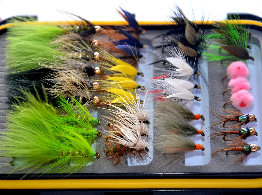 36Pieces Dry Fly, Wet Fly and Nymph Fly Lure Assotment + Fly Box for Trout Fly Fishing Flies