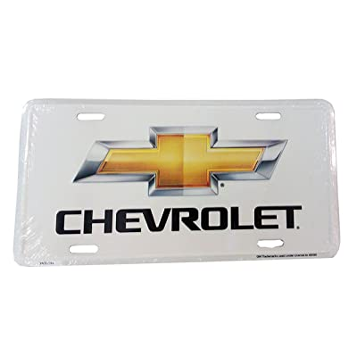 Chevy Bow Tie Logo License Plate (White): Automotive