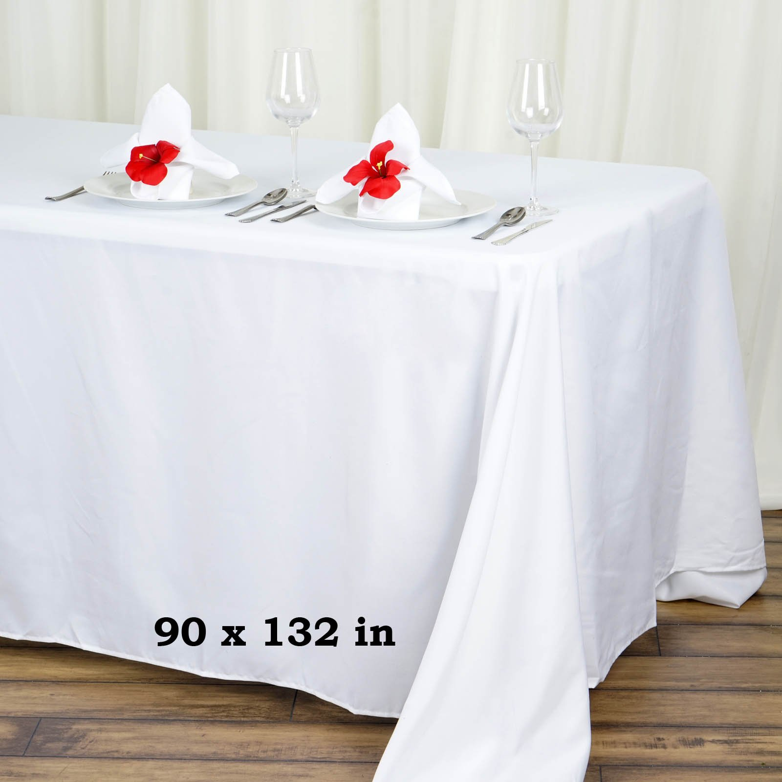 TC Tanu Collections Rectangle Tablecloth - 90 x 132 Inch - White Rectangular Table Cloth for 6 Foot Table in Washable Polyester - Buffet Table, Parties, Holiday Dinner, Wedding & More (Pack of 10) by LinenTablecloth