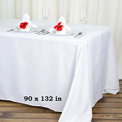 Groovy Efavormart 90X132 White Wholesale Rectangle Polyester Rectangle Tablecloth Linen Wedding Party Restaurant Tablecloth Download Free Architecture Designs Scobabritishbridgeorg