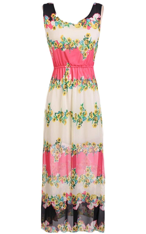 Zeagoo Damen Sommer Elegante Blumen dünne beiläufige lange Maxi-Kleid Strandkleider