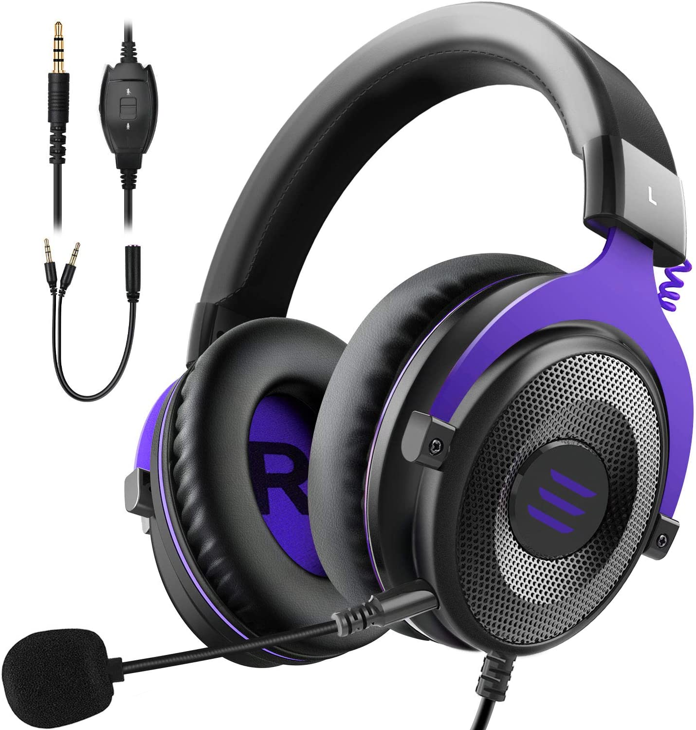 EKSA E900 Xbox Gaming Headset-Stereo Headset Wired Gaming Headphones with Noise Canceling Mic, Over Ear Headphones Compatible with PS4, Xbox One, Nintendo Switch, PC, Mac, Laptop(Purple)