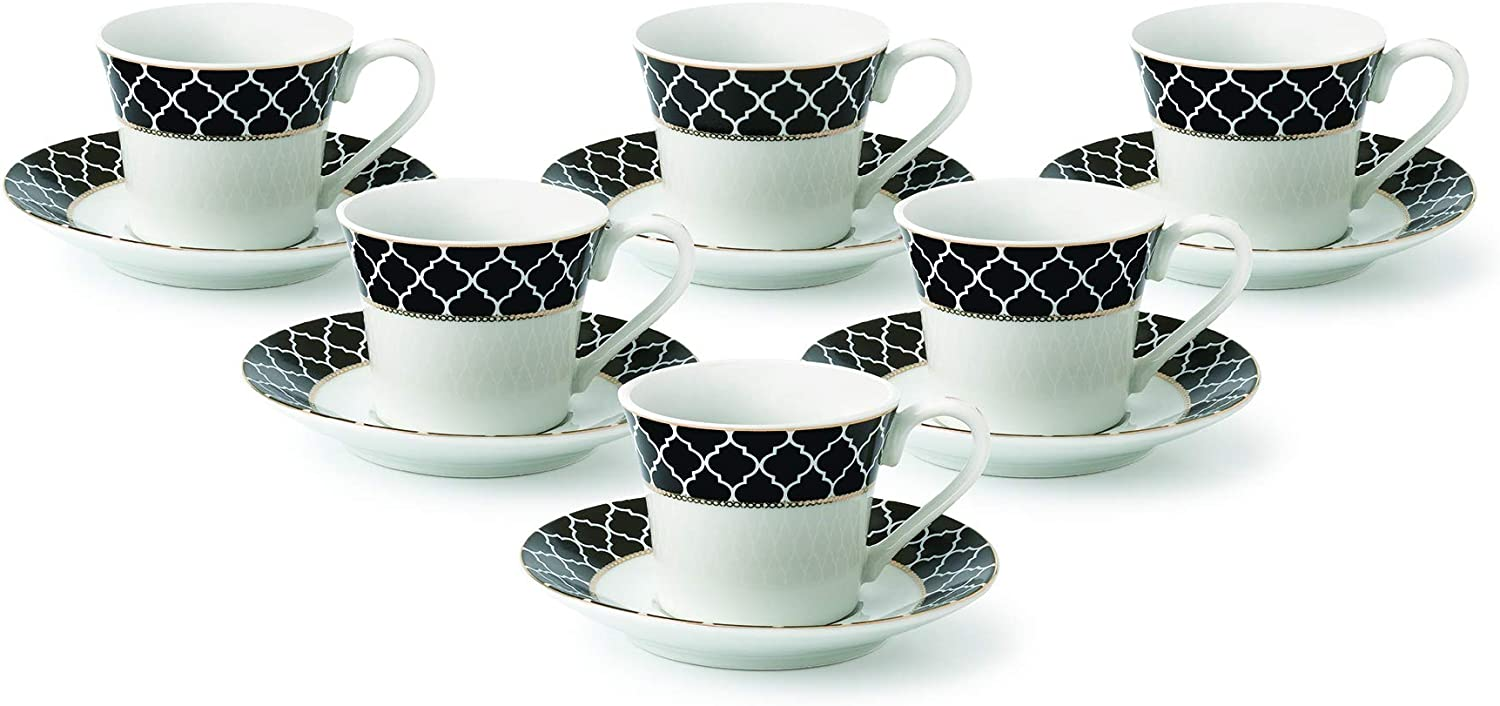 Lorren Home Trends Domino-6 Cups and Saucers, One Size, Black