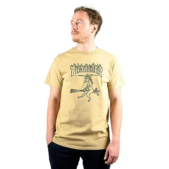 2546fc65517 Thrasher Magazine Witch T-Shirt Tan: Amazon.co.uk: Clothing