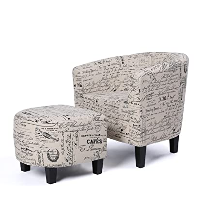 Belleze Accent Tub Chair Curved Back French Print Script Linen Fabric  W/Ottoman Modern Stylish