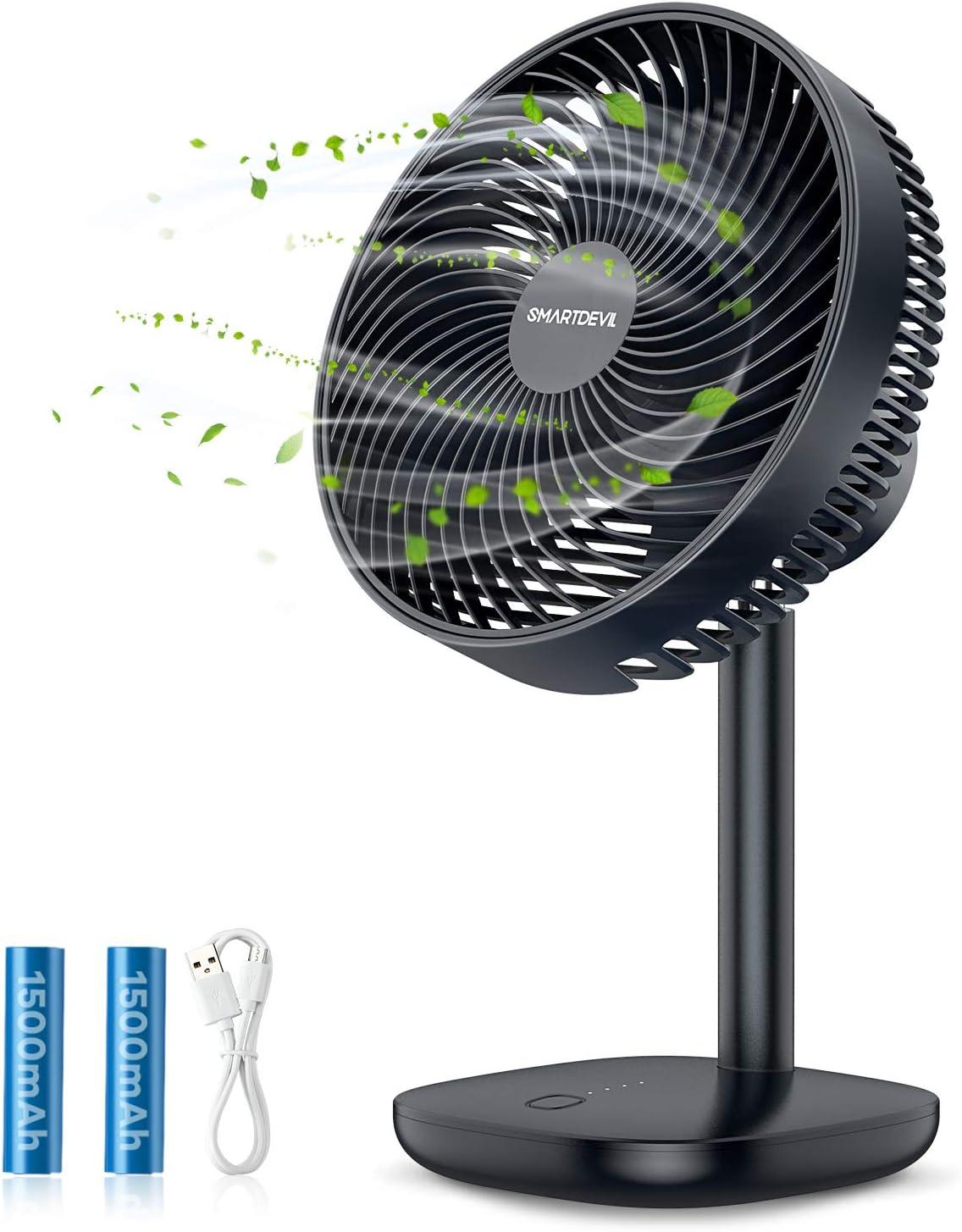 SmartDevil Ventilador de Mesa,batería Recargable de 3000 mAh,Ventilador portátil,Viento de 4 velocidades,45 ...