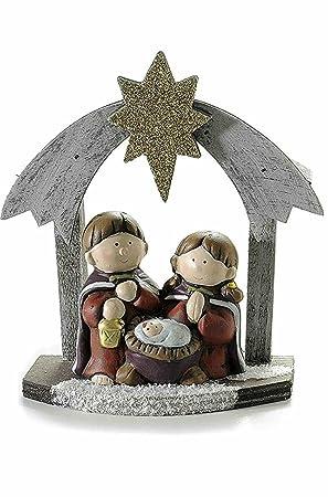 df3c0b04622 Art from Italy Decoración Navidad Belén de madera con figuras de cerámica y  estrella con purpurina  Amazon.es  Hogar