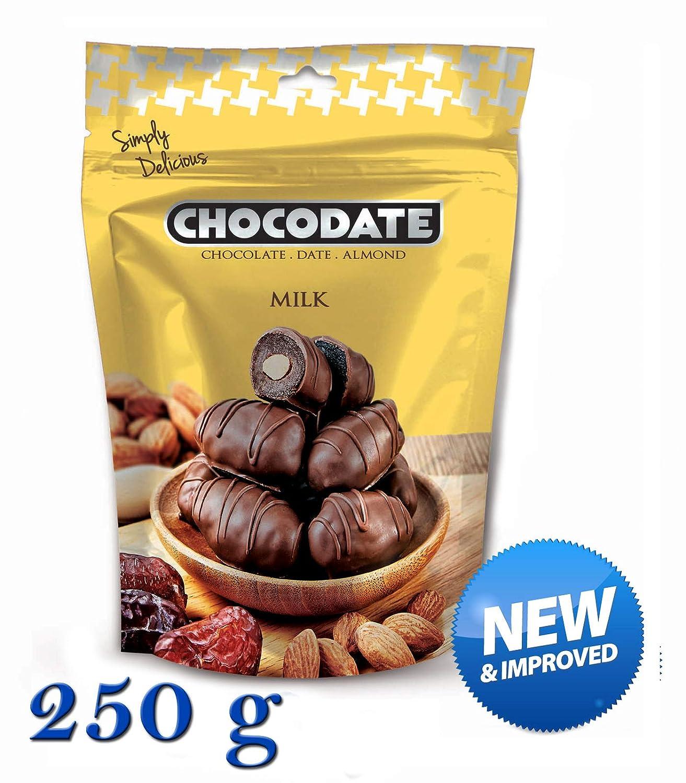 250 g Chocodate - Dátiles de chocolate con leche con almendras: Amazon.es: Alimentación y bebidas