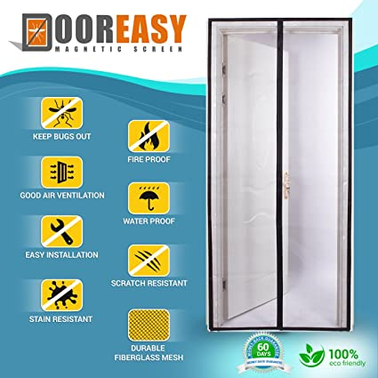Dooreasy Snaps Shut Like Magic Fiberglass Mesh Magnetic Screen Door, Big  Magnets, Strong Loop
