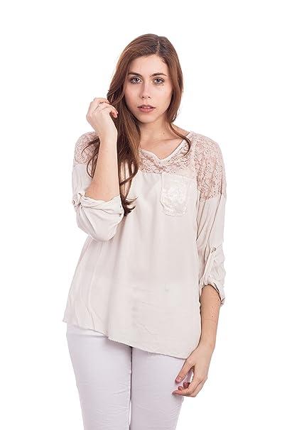 Abbino 833-12 Camisa Blusa Top para Mujer - Hecho en ITALIA - 4 Colores - Verano Otoño Invierno Mujeres Femenina Elegante Formale Manga Larga Casual Vintage ...