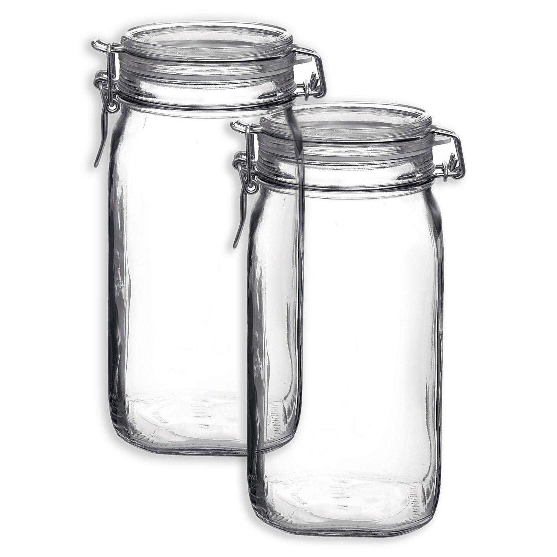Bormioli Rocco Set OF 2 Bormioli Rocco Fido Square Jars With Clear Bail And Trigger Lids, 50-1/4-oun