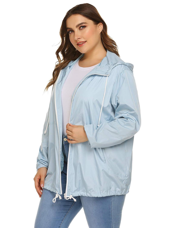 Womens Plus Size Raincoat Rain Jacket Lightweight Waterproof Coat Jacket Windbreaker with Hooded