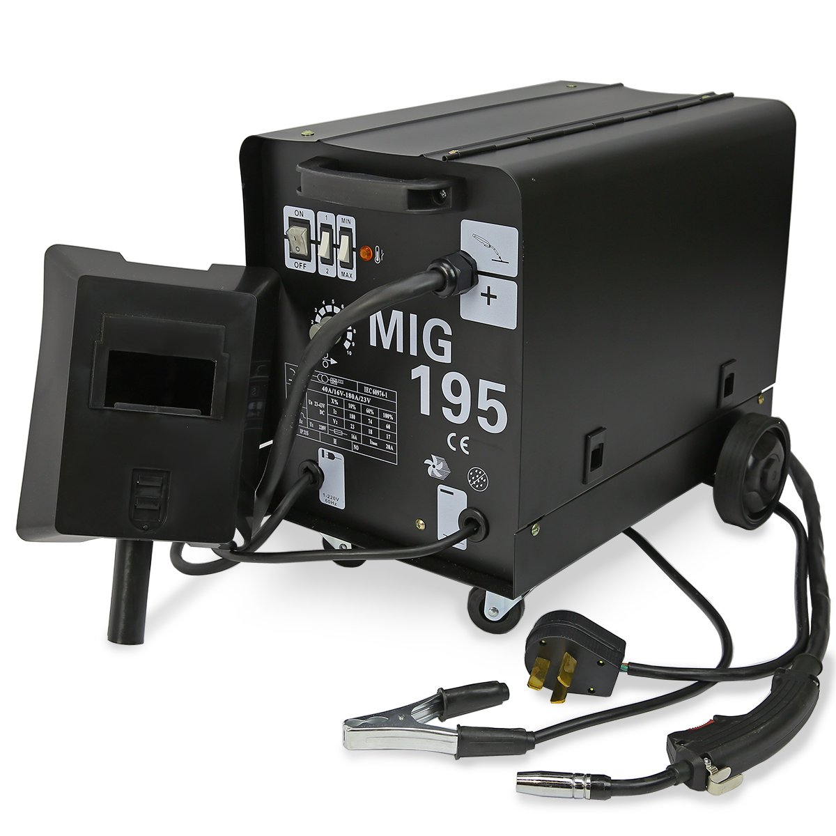 MIG-195 MIG Series Gas-Less Flux Core Wire Welder Welding Machine Automatic Feed Unit DIY