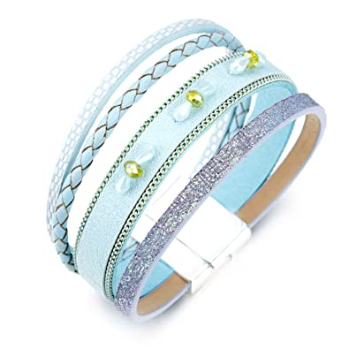 d34bb516b3839 Amazon.com: freedomer Blue Color Leather Bracelets for Women Crystal ...