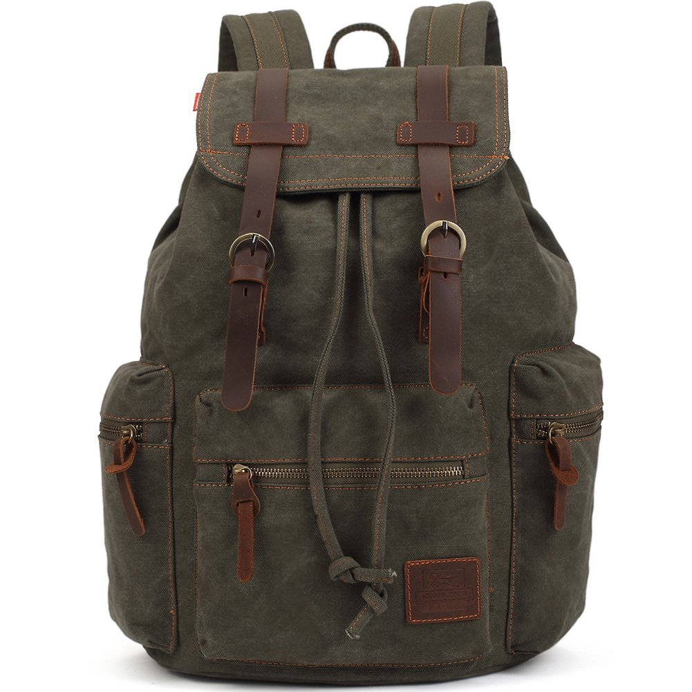 KAUKKO Vintage Casual Canvas and Leather Rucksack Backpack 1Coffee Zhibiao Huang FP702-27