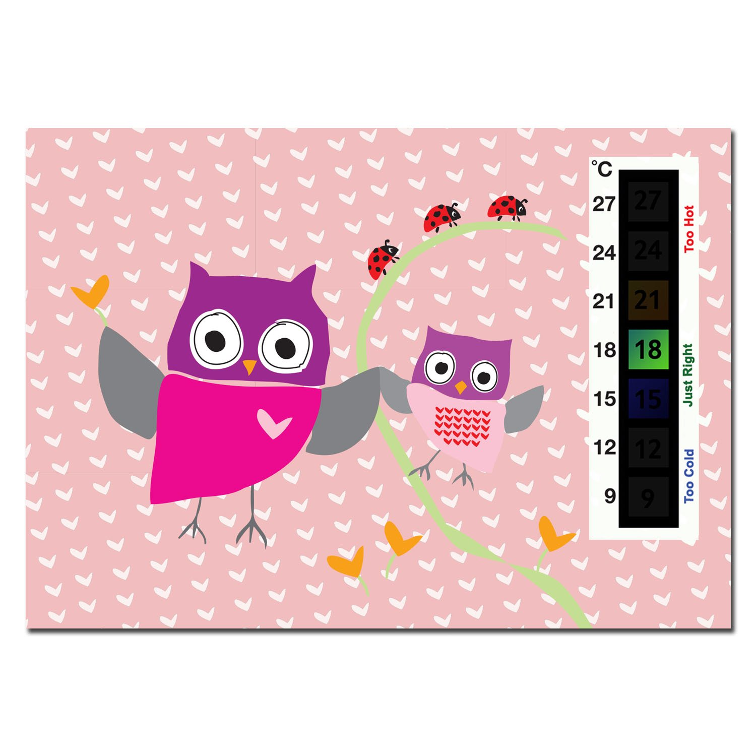 Baby Pink Owl & Ladybird Nursery Room Safety Temperature Thermometer Monitor Good Life Innovations