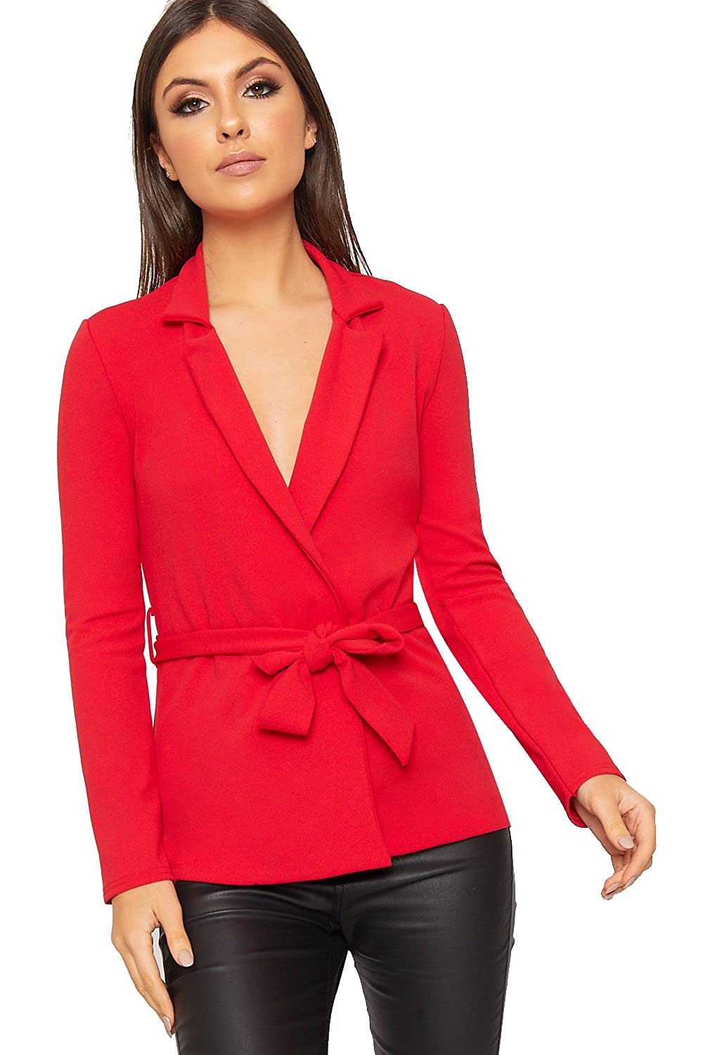 WearAll Women's Long Sleeve Belted Jacket Top Plain Basic Open Short New Ladies Blazer 6-14 88695