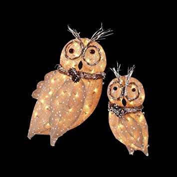 holiday living 2 piece 17 ft owl christmas outdoor decoration - Outdoor Owl Christmas Decorations