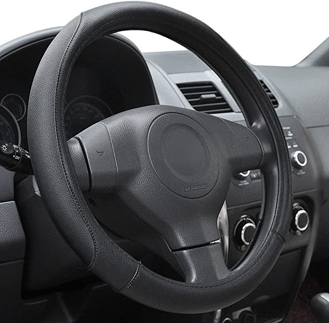 UNIVERSAL FAUX LEATHER STEERING WHEEL COVER BLACK//RED 012-NSN1