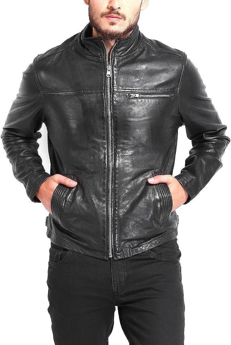 Leather N Leather Genuine Lambskin Leather Moto Biker Jacket Top Collar